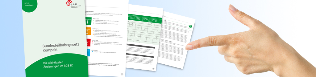 Neu: Bundesteilhabegesetz Kompakt, Cover der neuen Broschüren mit hell- und dunkelgrünen Halbkreisen
