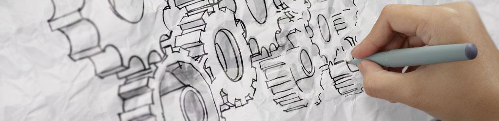 BAR als Motor der Rehabilitation: Eine Hand zeichnet ein System von ineinandergreifenden Zahnrädern.